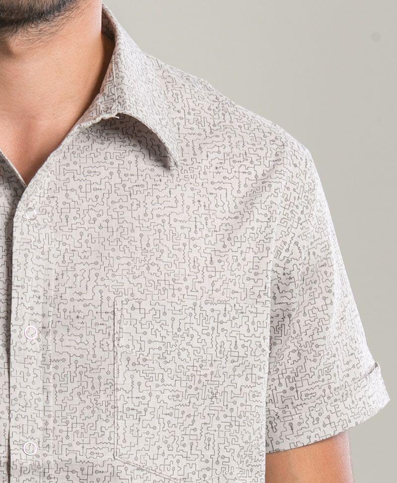 Maze Button Shirt  ➟ Light Grey