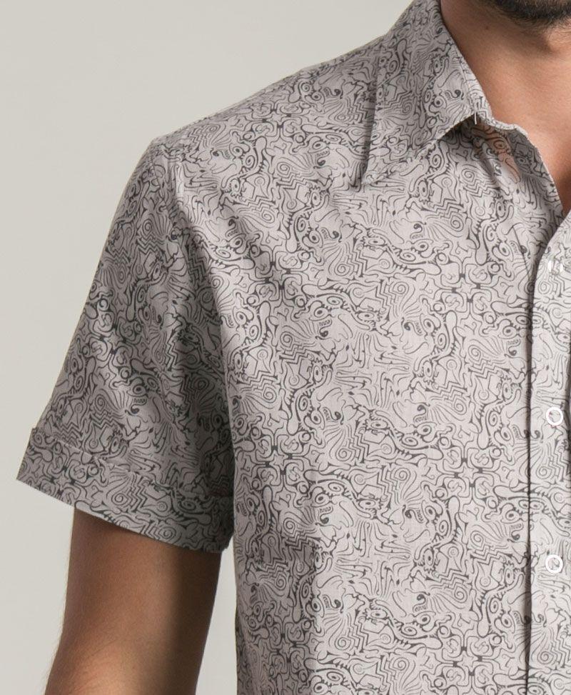Tails Button Shirt ➟ Light Grey