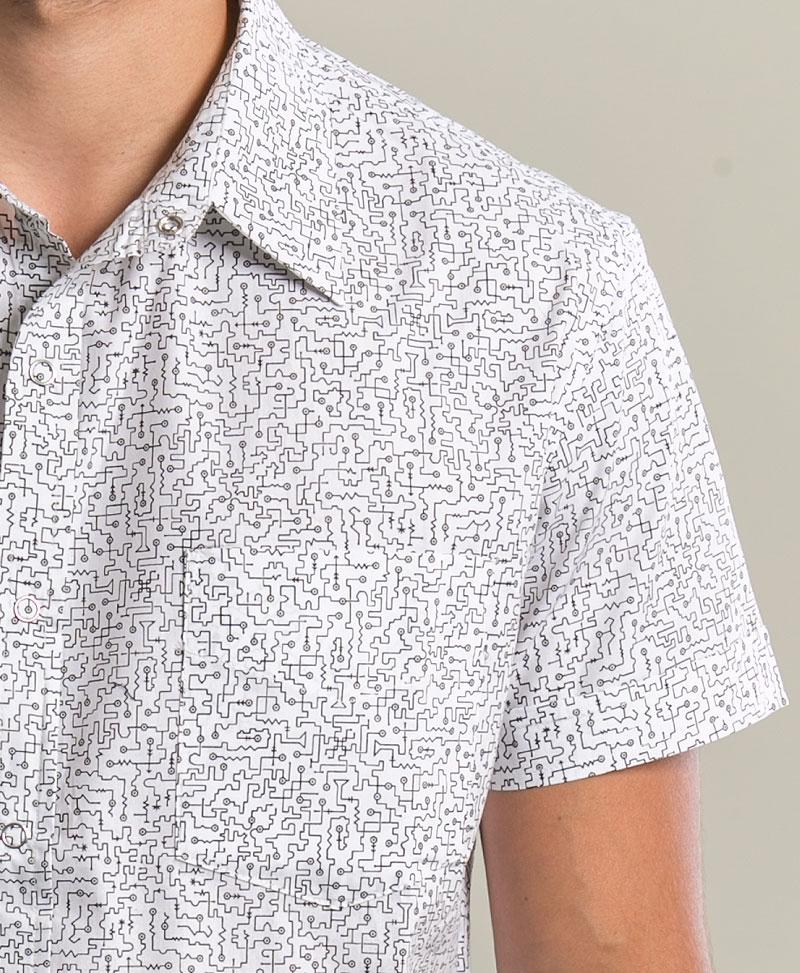 Maze Button Shirt ➟ White