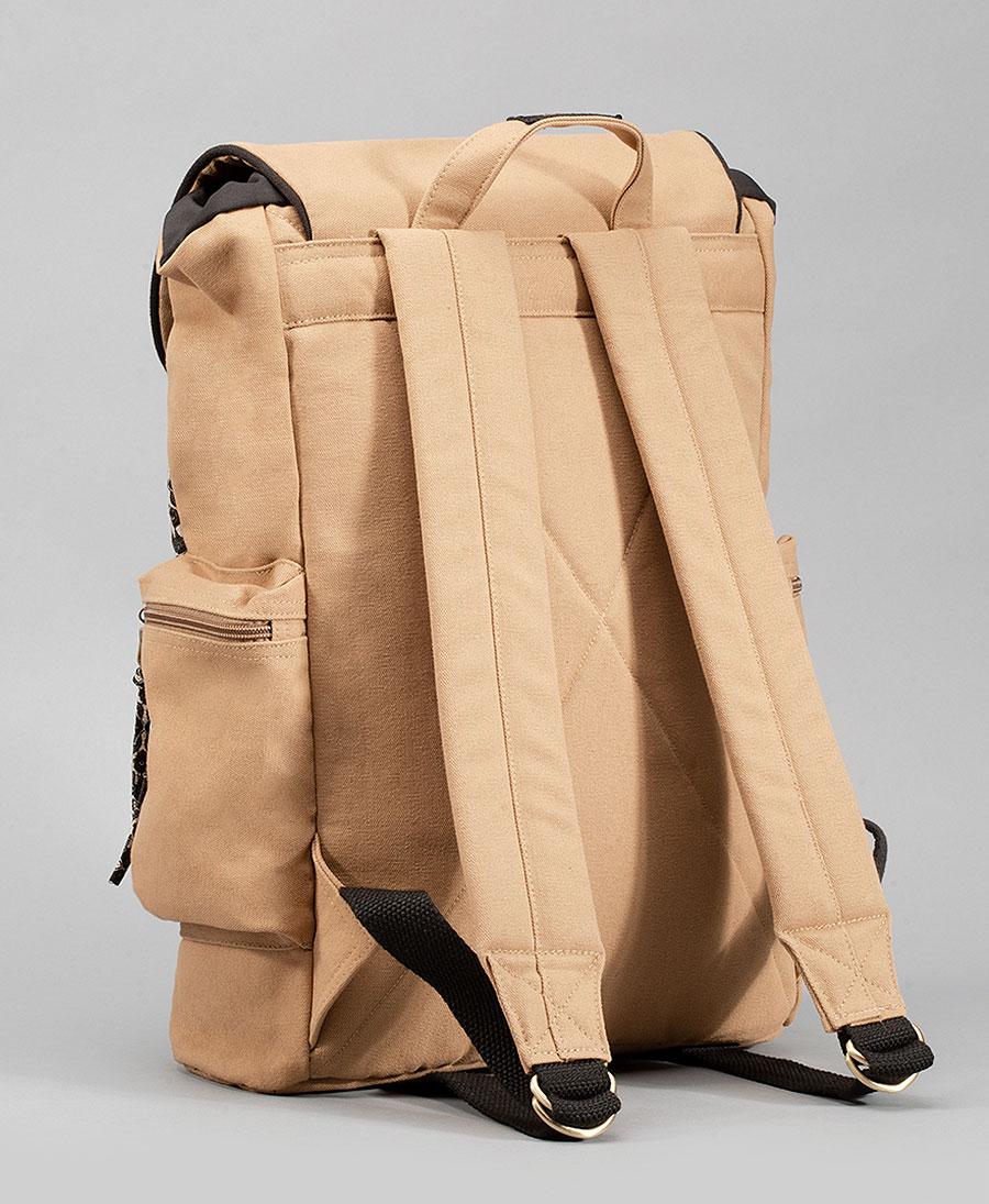 Yellow vegan canvas backpack