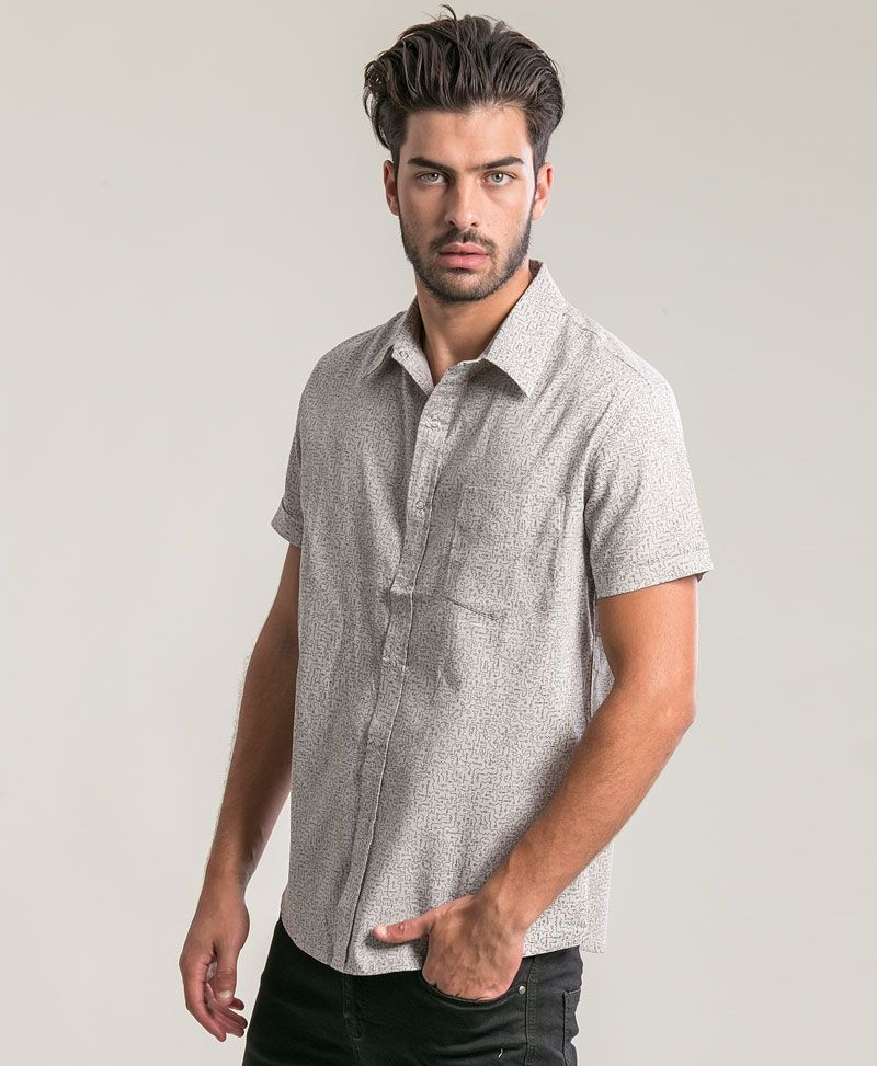 Maze Button Shirt  ➟ Light Grey