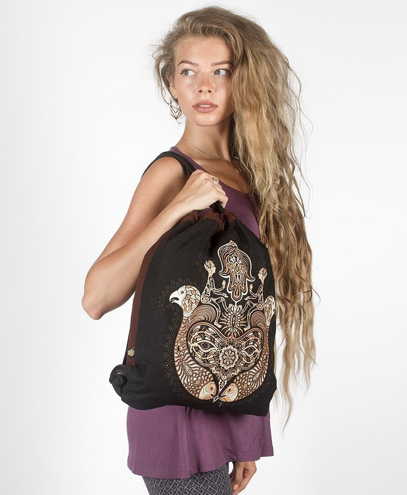 Hamsa Drawstring Backpack ➟ Black & Brown