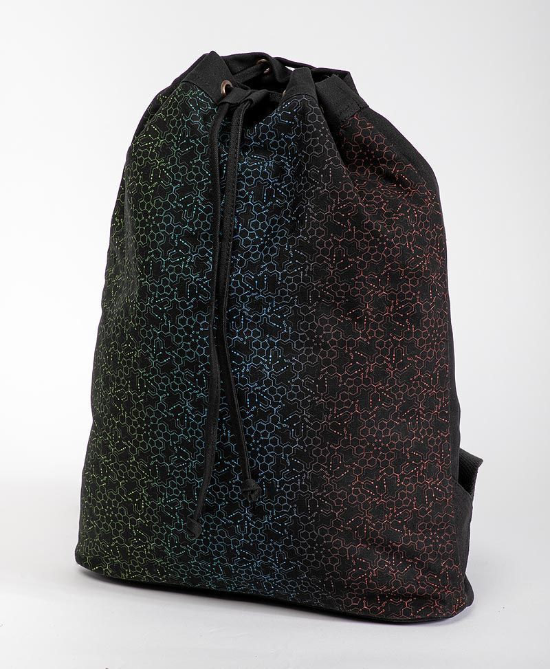 LSD Molecule ➟ Padded Straps Drawstring Backpack / Black