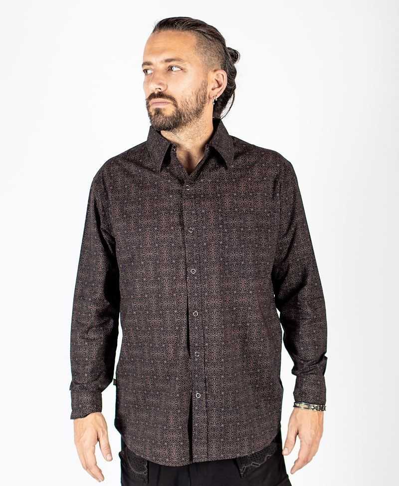 Hamsa Long Button Shirt ➟ Black