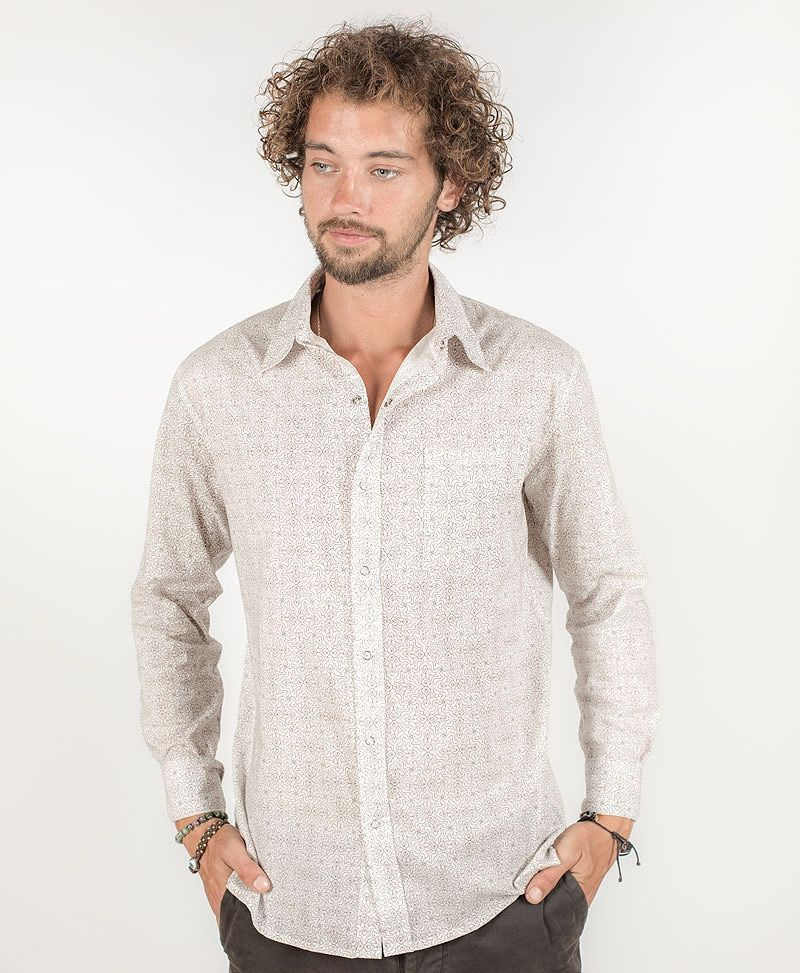 Hamsa Long Button Shirt ➟ White
