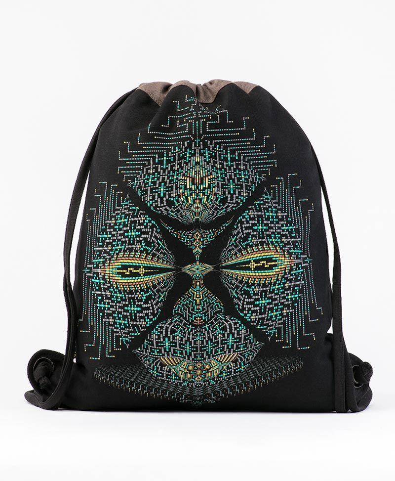 Sikuli Drawstring Backpack ➟ Black & Grey