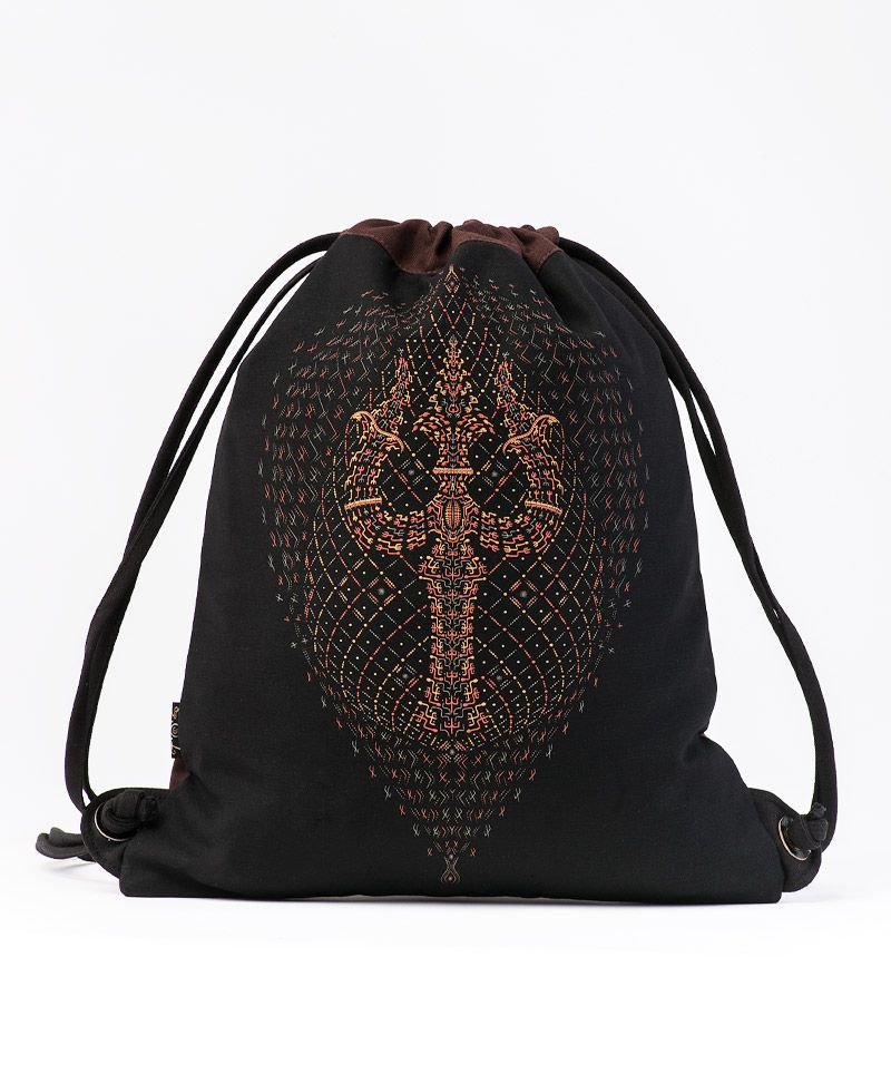 Trishula Drawstring Backpack ➟ Black & Brown