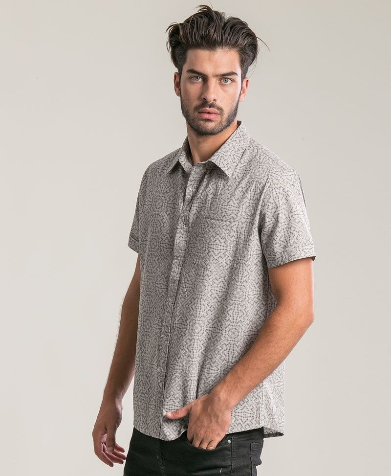 Hexit Button Shirt ➟ Light Grey