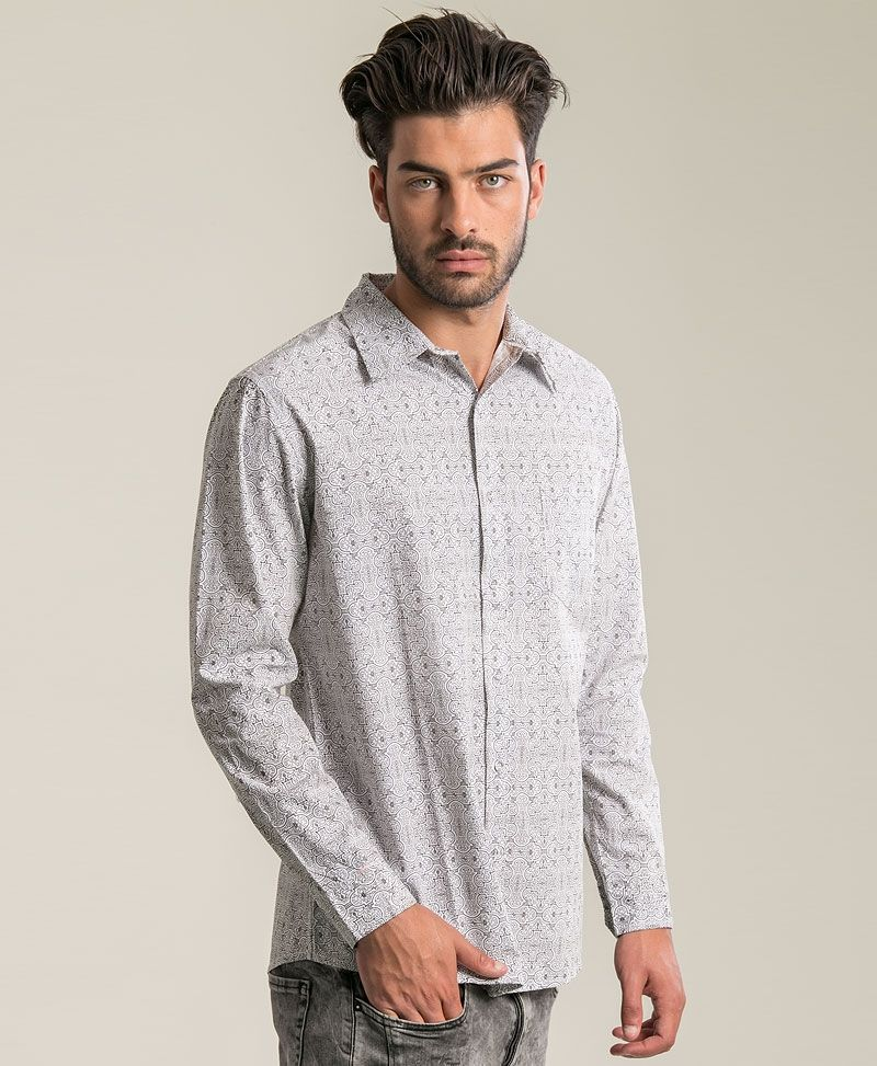 Shipibo Kené Long Button Shirt ➟ White