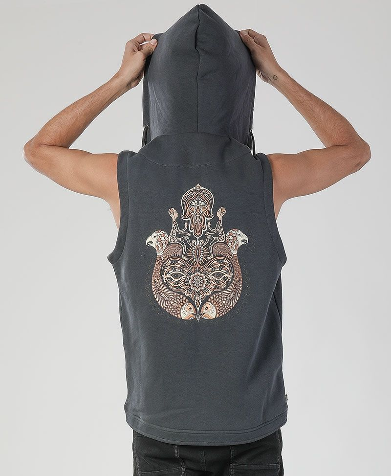 Hamsa Hooded Vest ➟ Grey