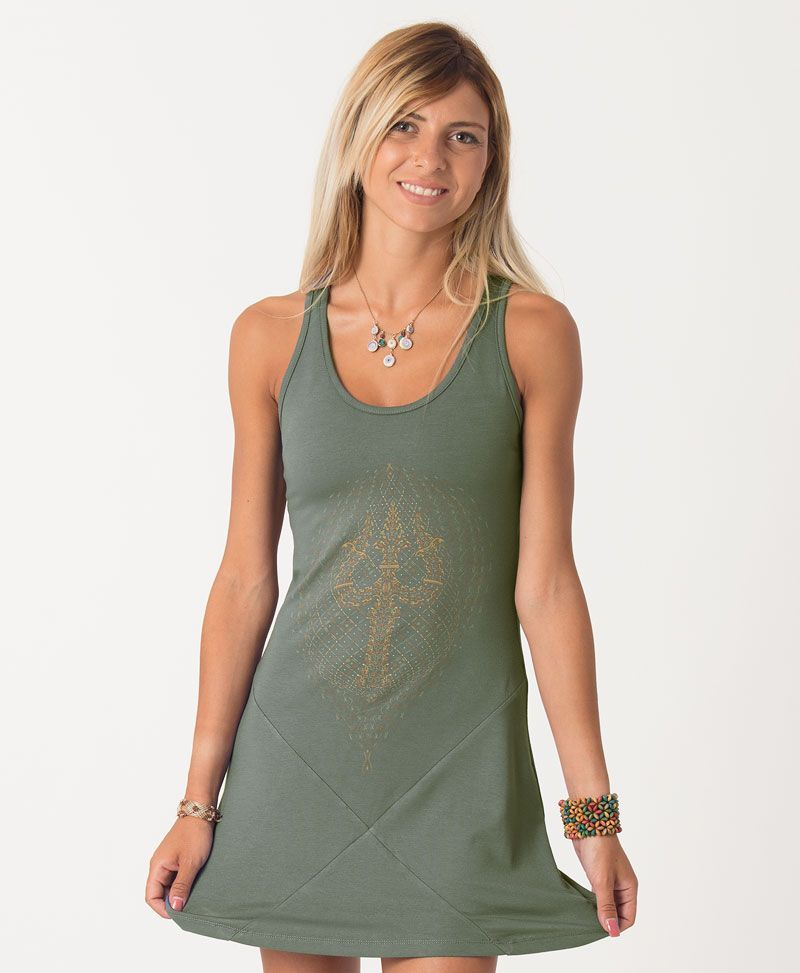 Trishula Tunic Dress ➟ Black / Grey / Green