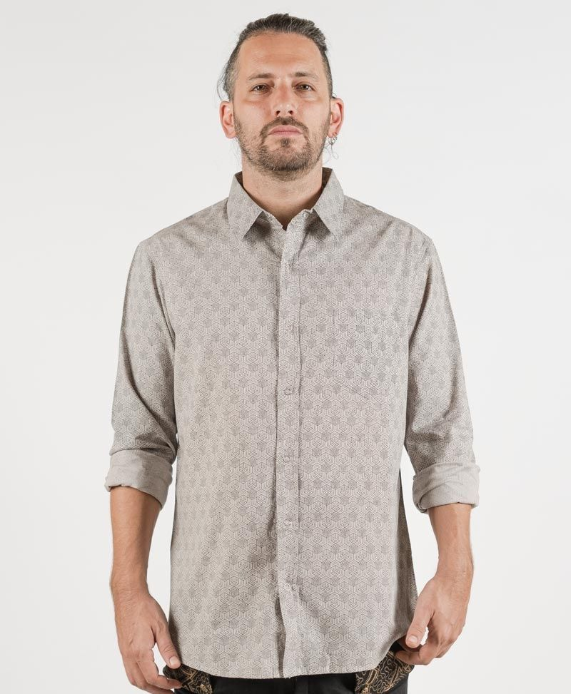 Kubic Long Button Shirt ➟ Light Grey