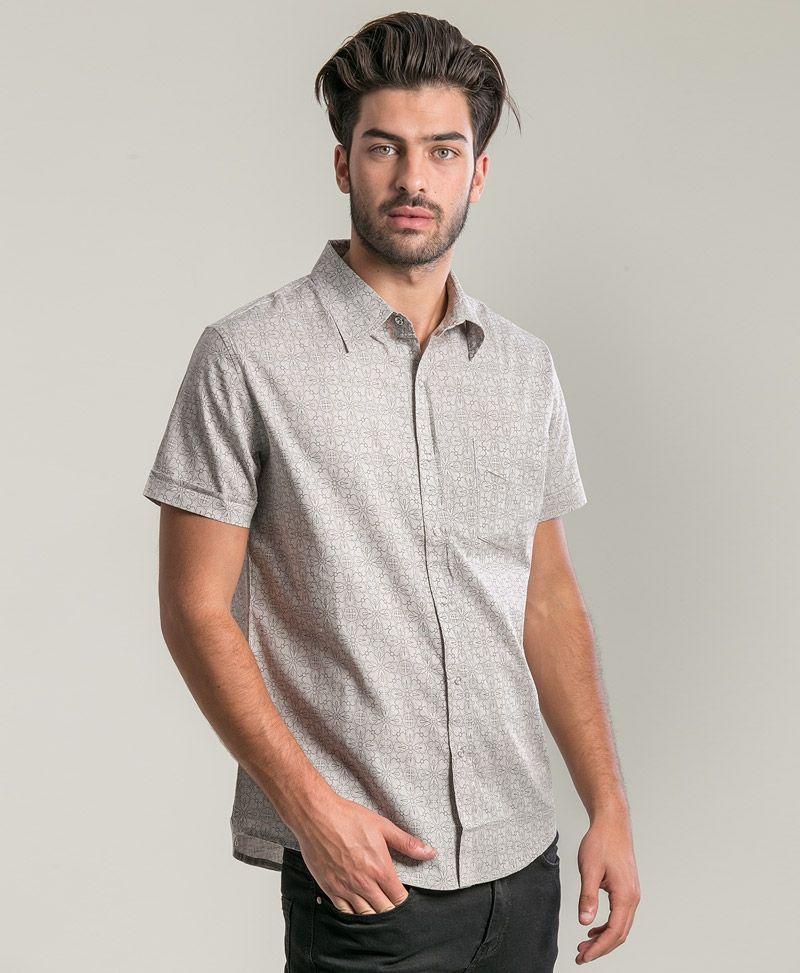 Arabesque Button Shirt ➟ Light Grey