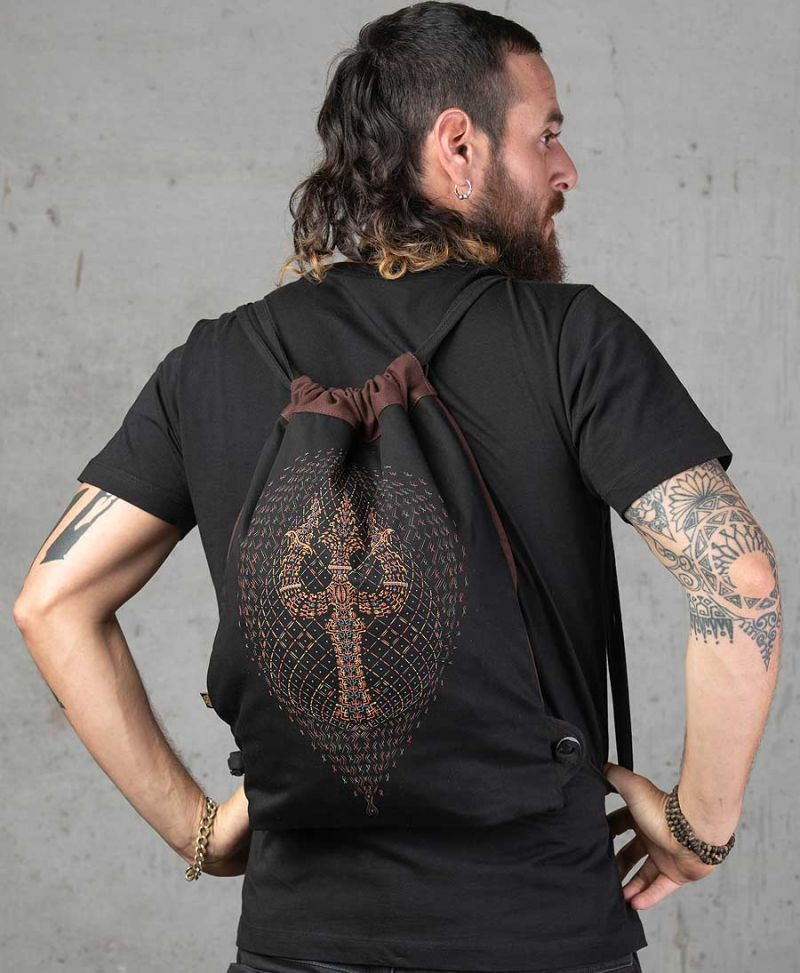 Trishula Drawstring Backpack ➟ Black & Brown