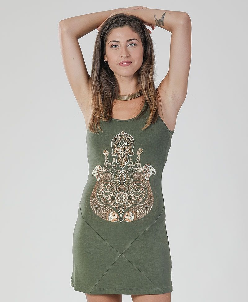 Hamsa Tunic Dress ➟ Brown / Green