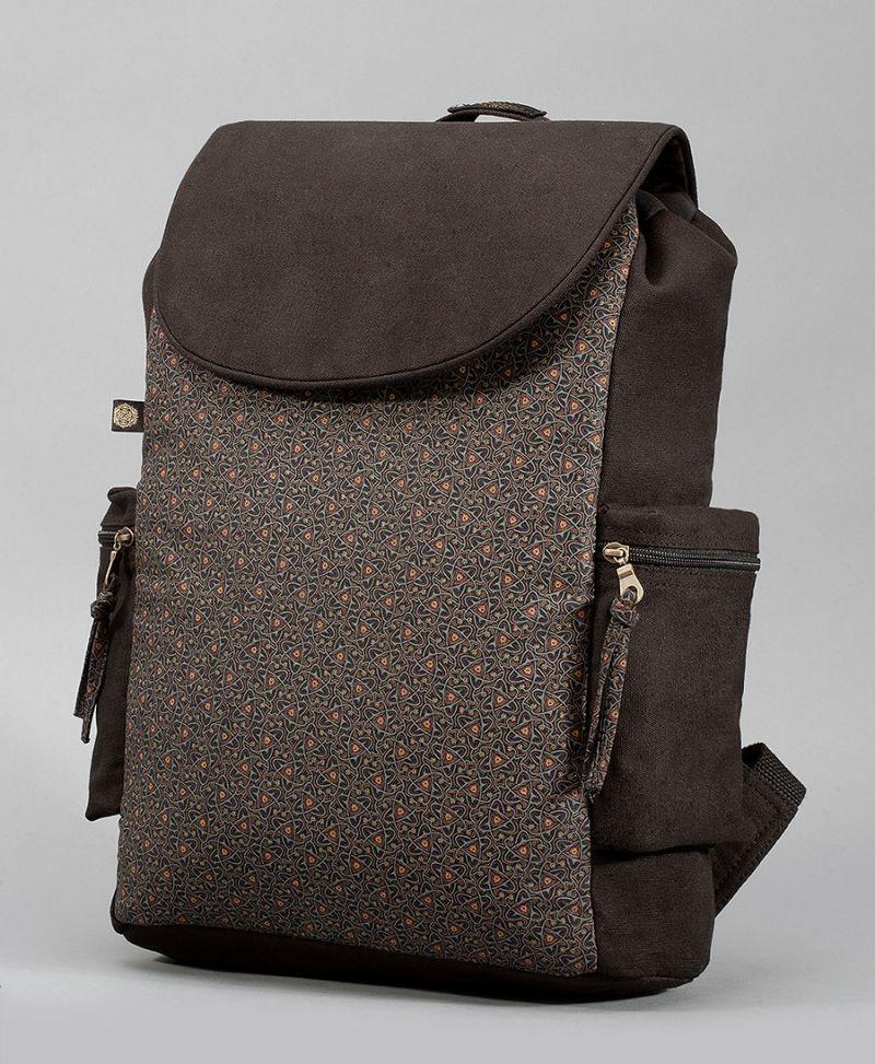 black canvas backpack atom molecule celtic print laptop bag