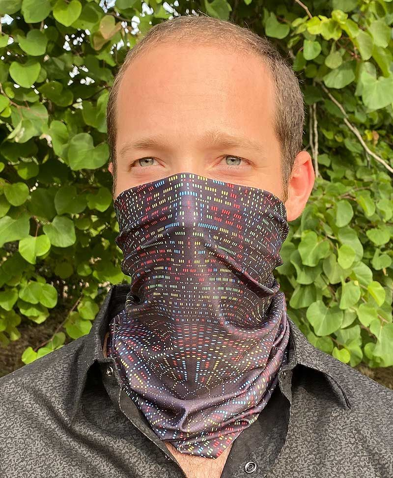 Psychedelic Festival Neck Gaiter Bandana Snood Face Mask Scarf Tribal
