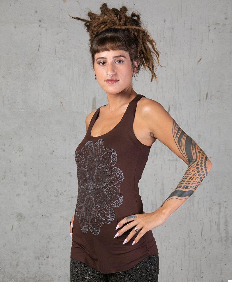 brown tank top for women psychedelic mandala print