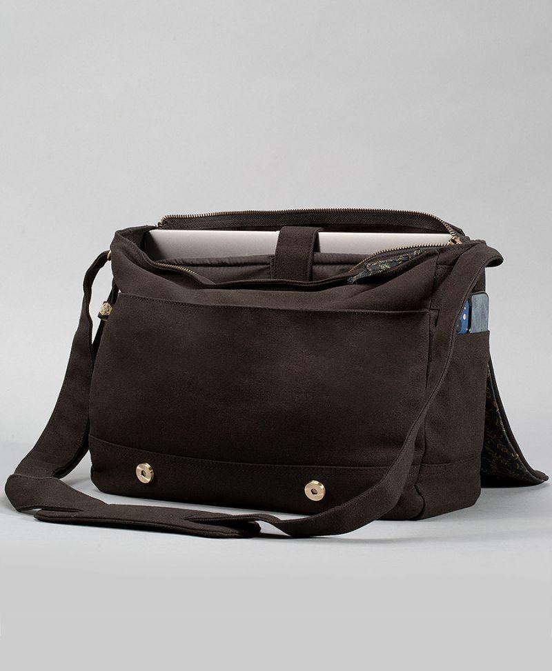 atom molecule messenger laptop bag unisex vegan canvas bags