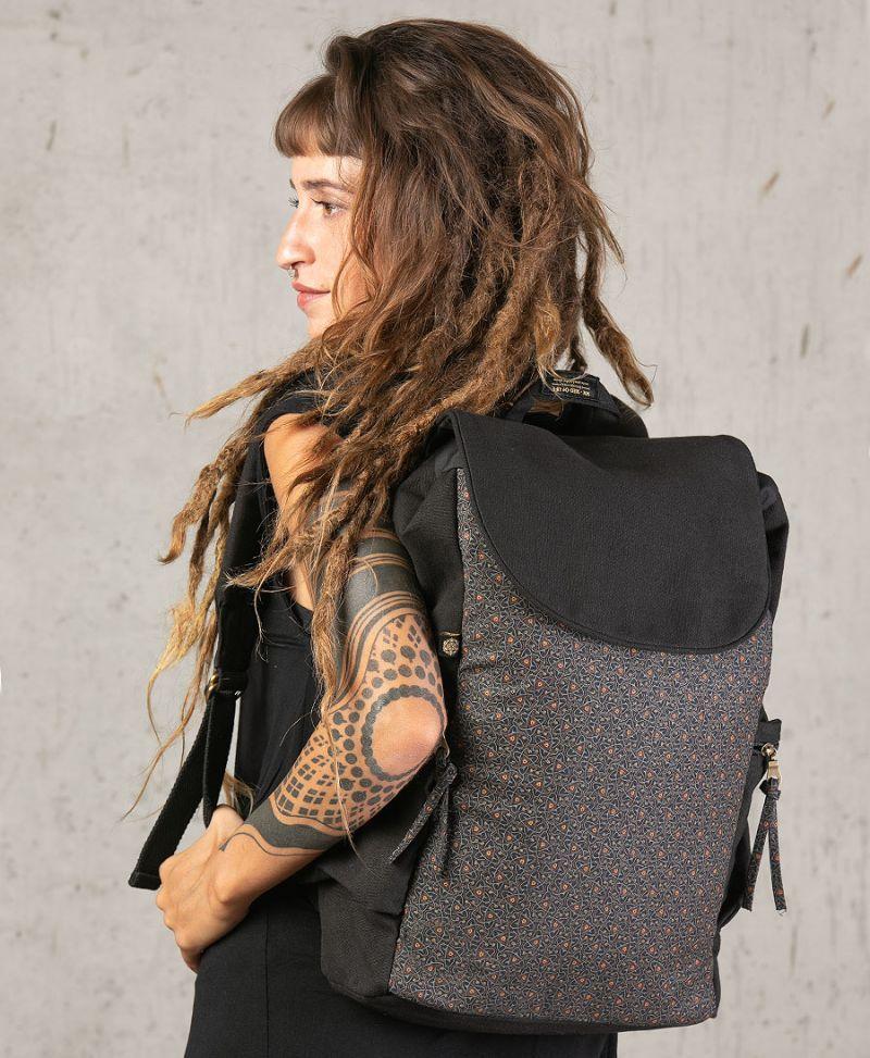 Celtic print backpack canvas vegan laptop bag