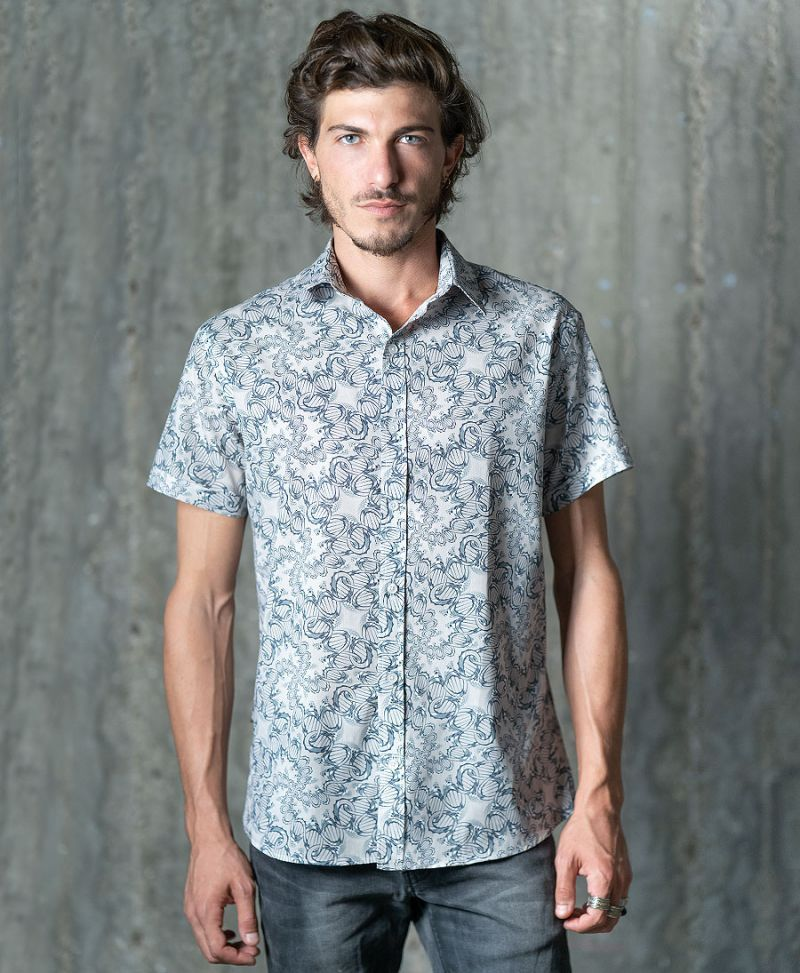 psychedelic men button up shirt dna full print