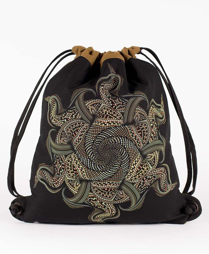 psychedelic festival bag draw string backpack sack vortex mandala
