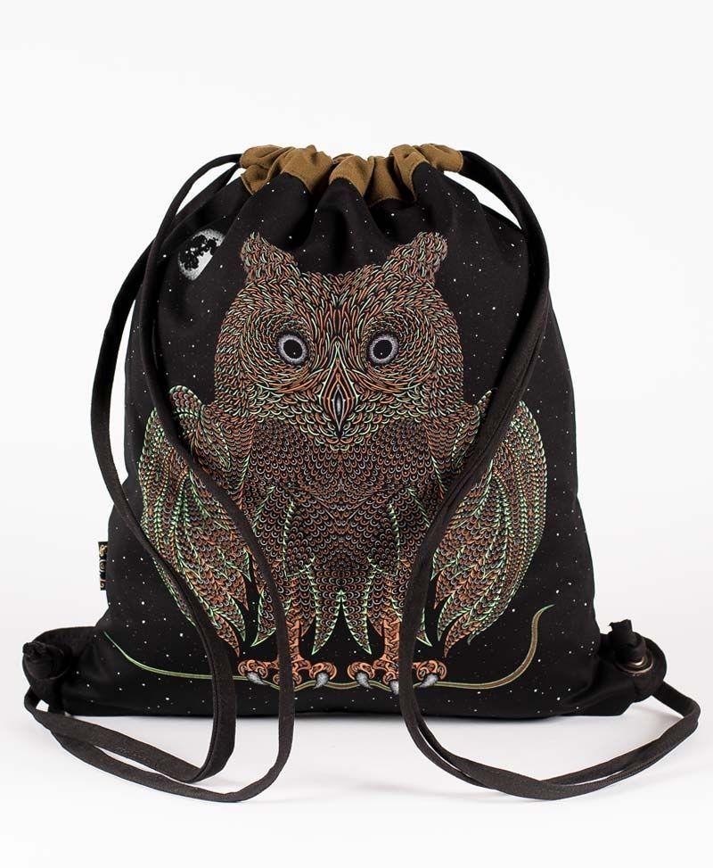 psychedelic bag drawstring backpack canvas sack bag owl