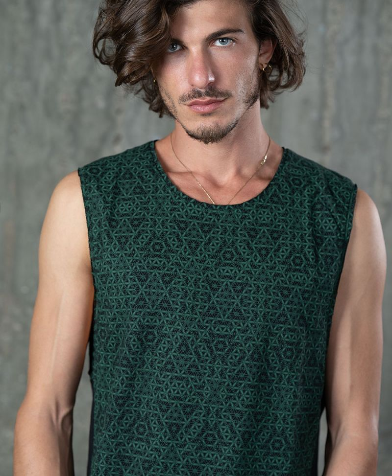 flower of life men tank top sacred geometry clothing for him