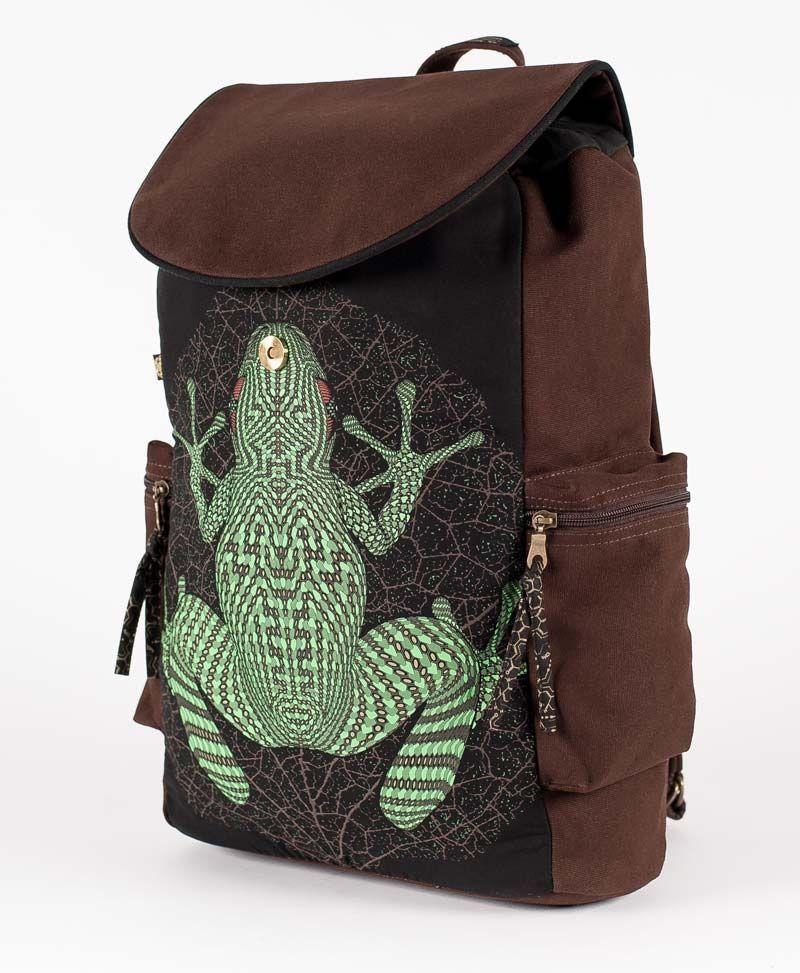frog-backpack-canvas-laptop-bag-black-brown-psy-trance