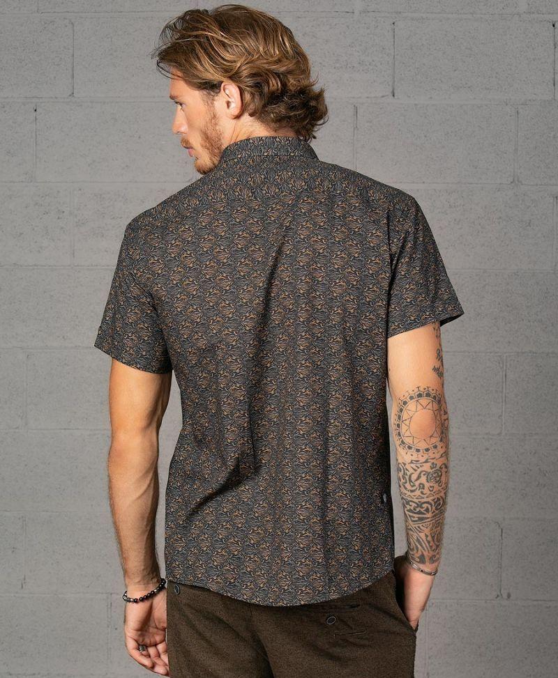 Alternative Men Button Down Button Up Shirt Peach Seed Print