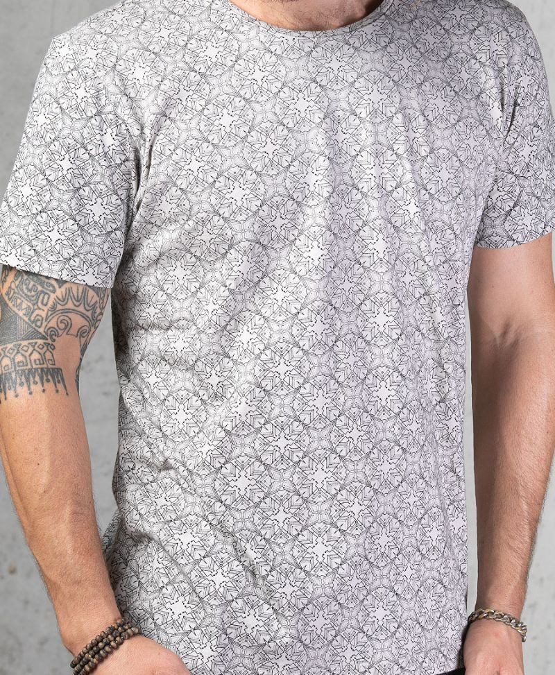 Psychedelic Shirt For Men Grey Tshirt Full Print Tee Urban Psy Trance Streetwear