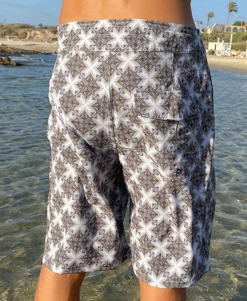 geometry print men board shorts surfer swimwear