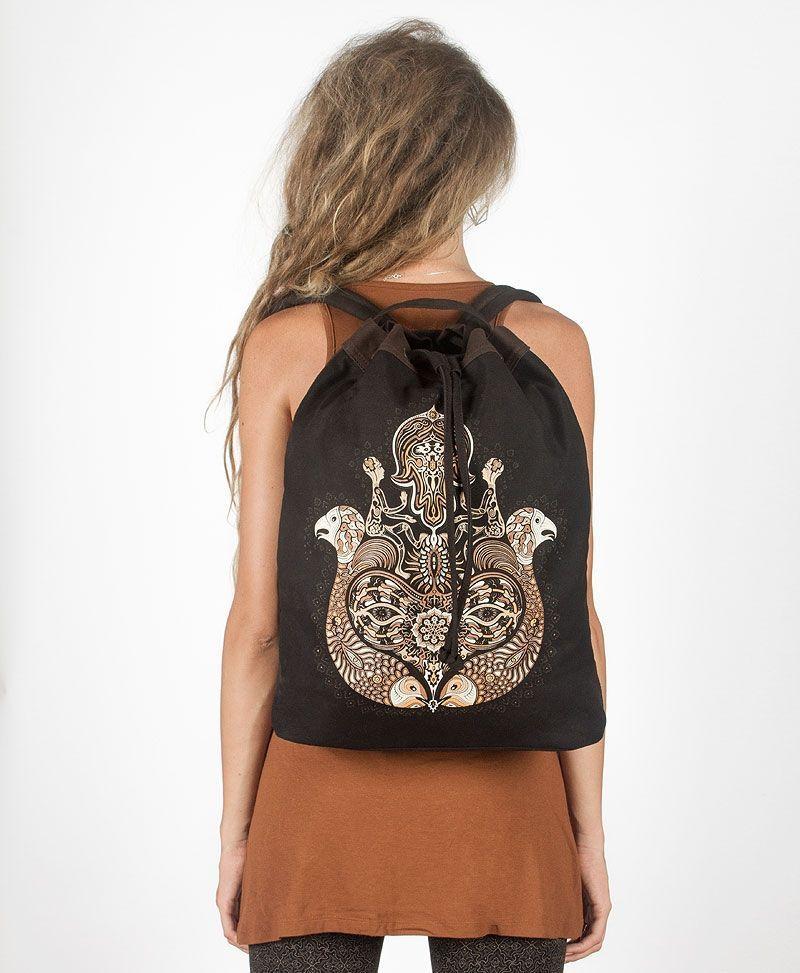 psy trance festival drawstring backpack canvas sack bag hamsa