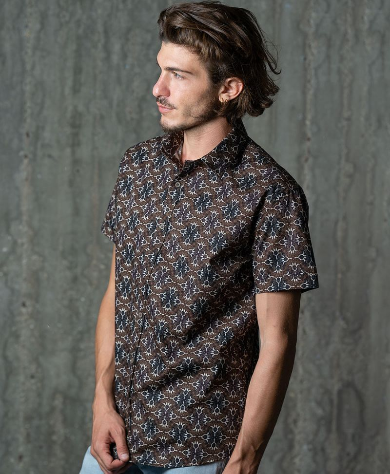 hamsa tribal men button up shirt