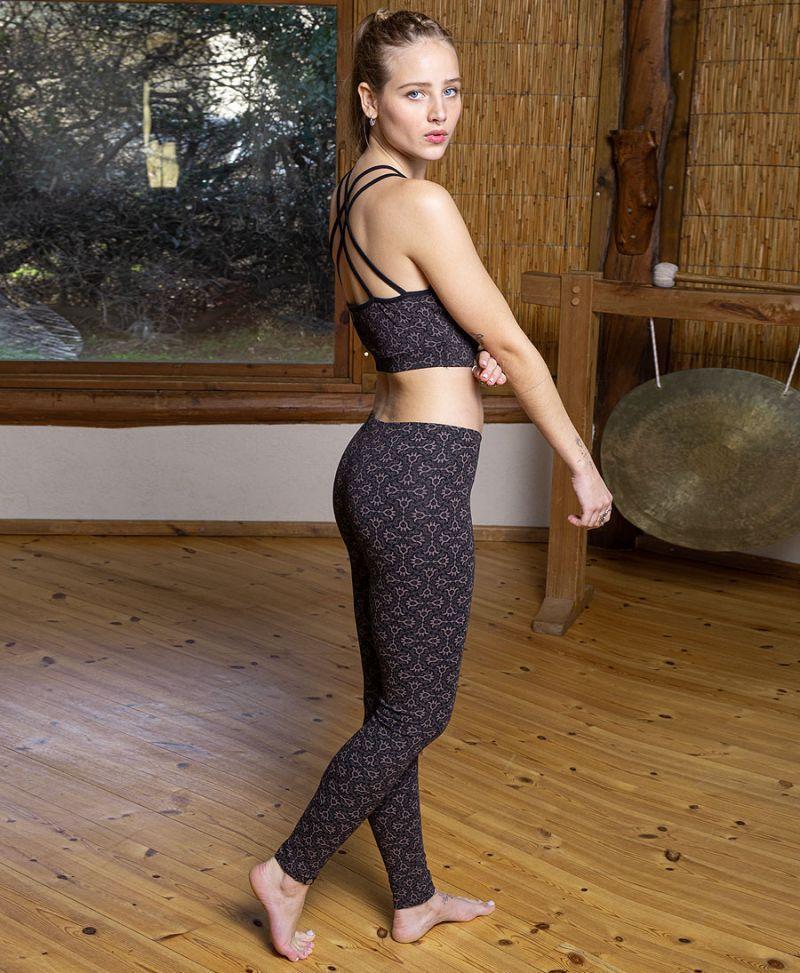 women yoga leggings long cotton tights tribal print