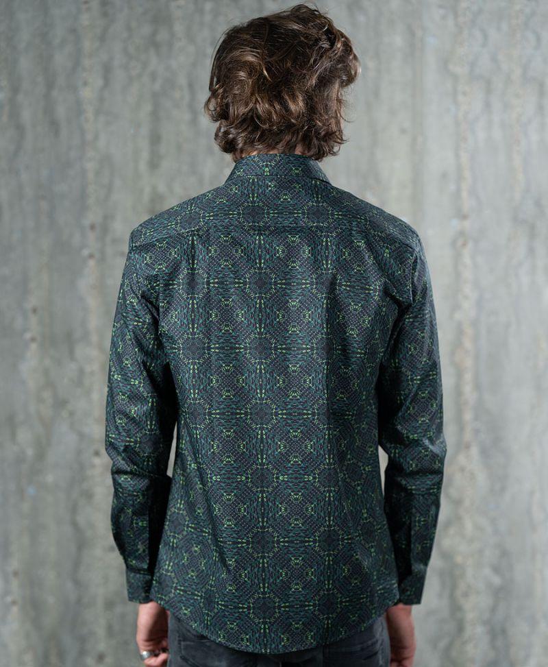 trippy print long sleeve men button up shirt green