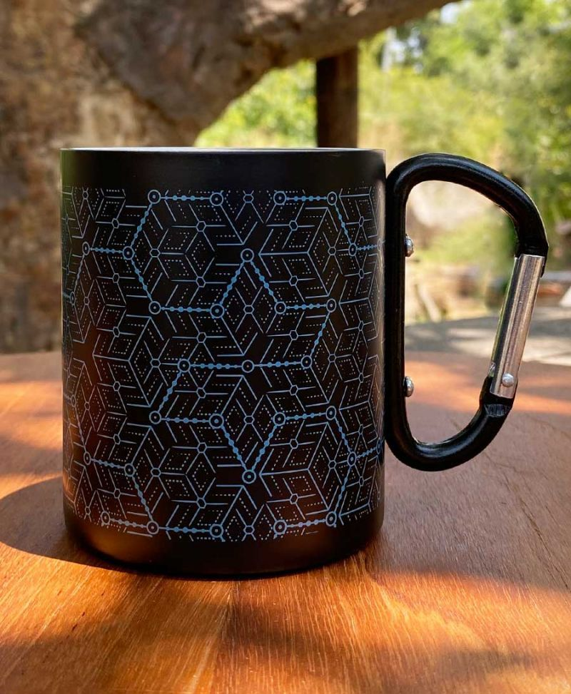 Hexagon Print Stainless Steel Travel Mug With Clip Handle