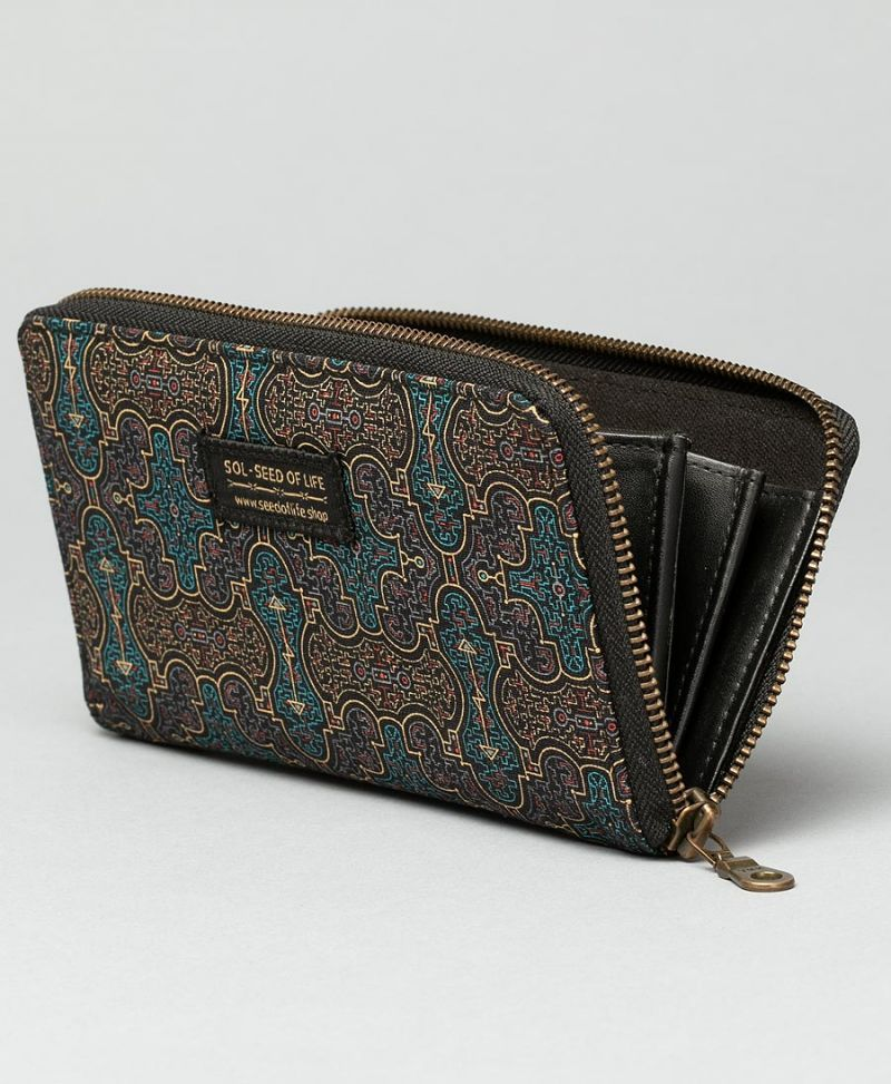 shipibo wallet for women vegan canvas