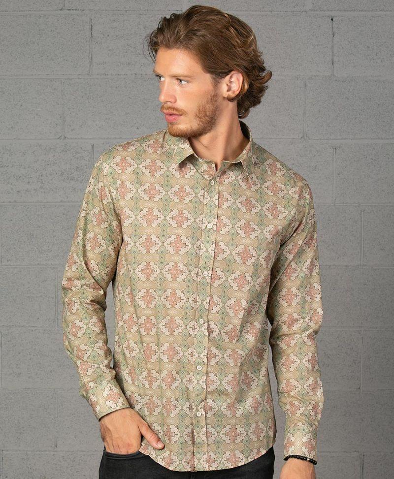 long sleeve button up men shirt shipibo clothing