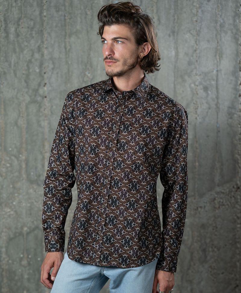 tribal men button up long sleeve shirt brown