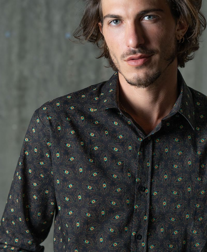 trippy button down shirt for men psychedelic clothing for guys