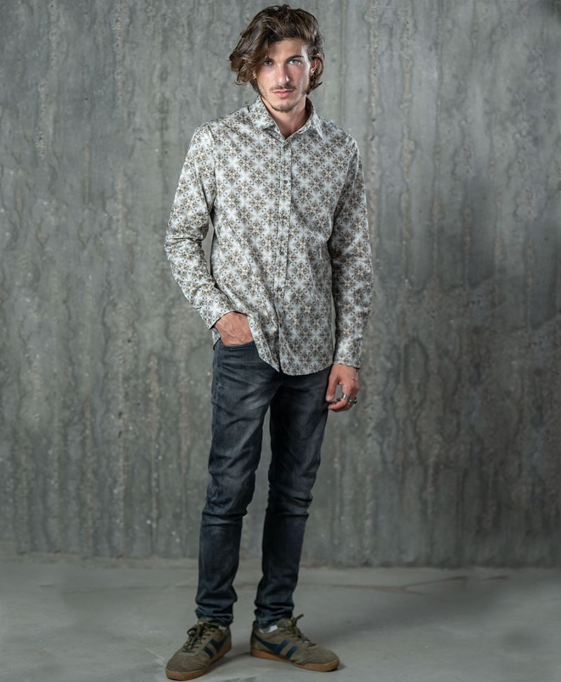psychedelic button up shirt long sleeve men button down trippy print