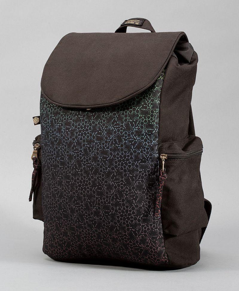 lsd molecule backpack canvas laptop bag psy trance
