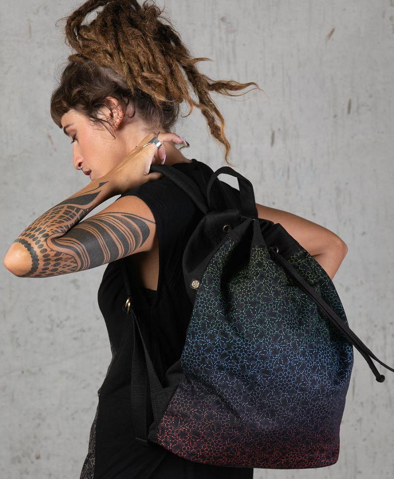 psychedelic drawstring backpack lsd molecule print