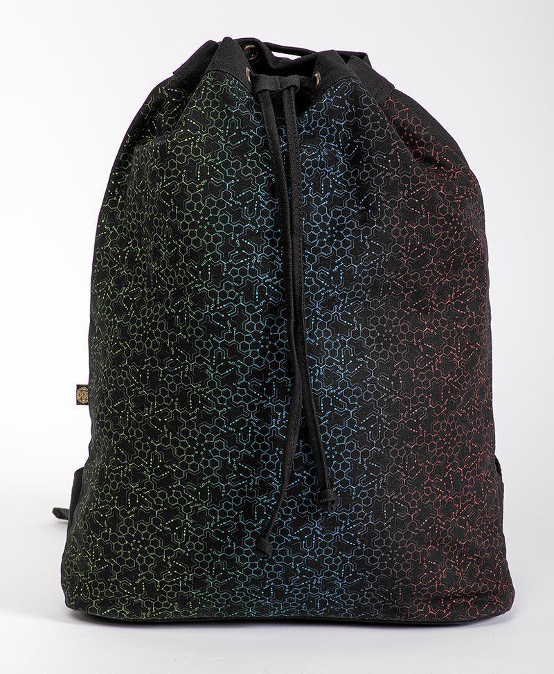 lsd molecule drawstring backpack psychedelic bag
