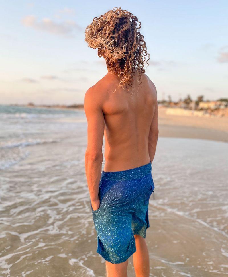psychedelic board shorts for men led molecule print