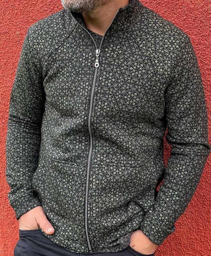 marijuana leaf print men zip up jacket