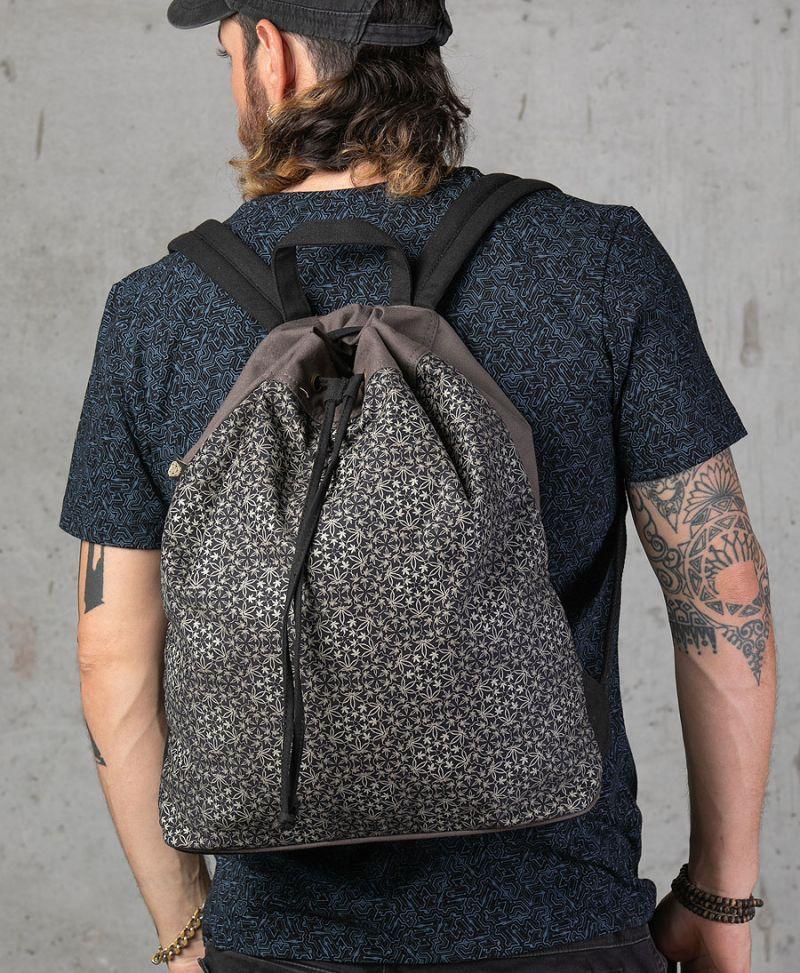 psychedelic backpack marijuana leaf print