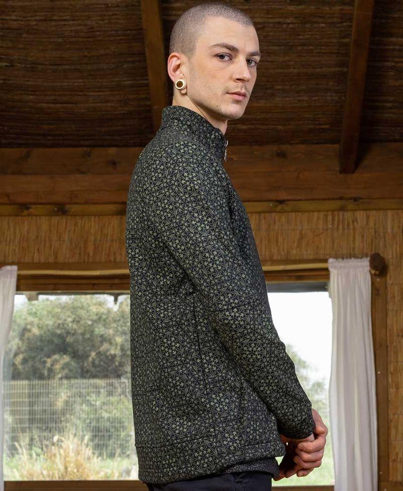 men zip up long sleeve jacket marijuana leaves full print psy clothing