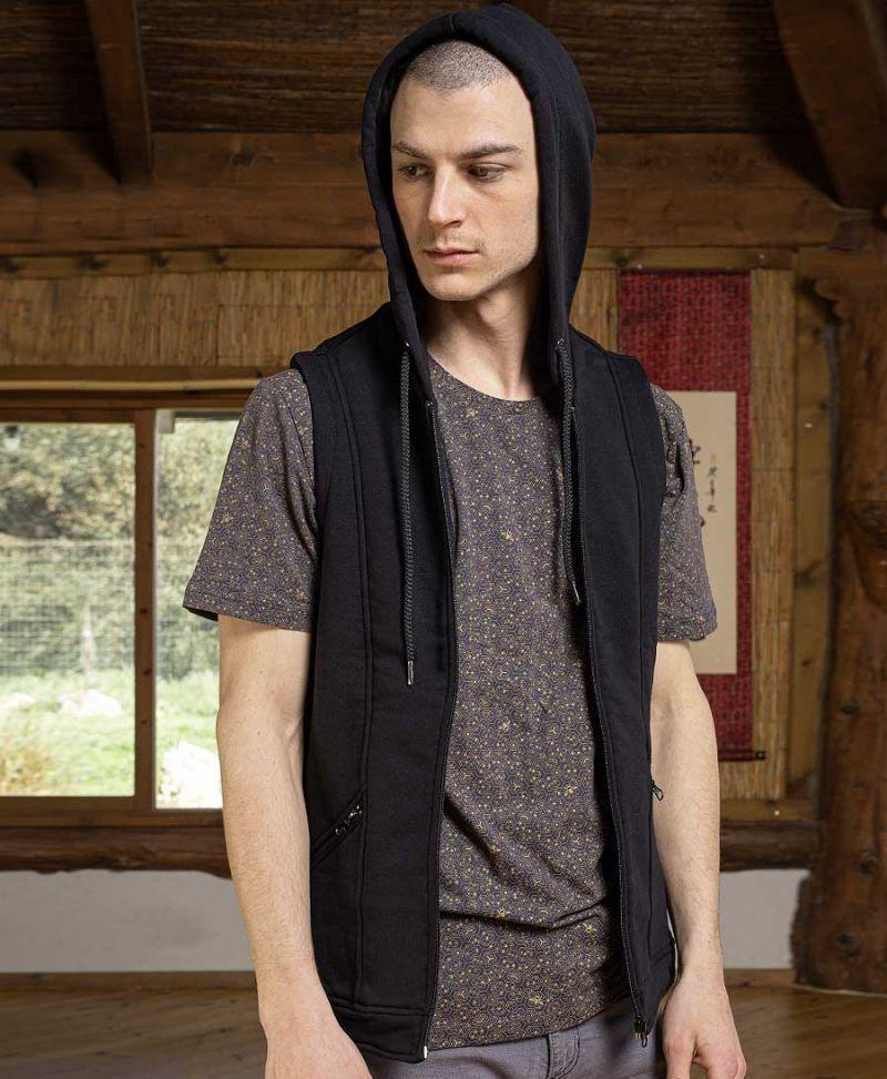 men psychedelic hood vest psy trance clothing
